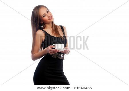 Woman In A Dark Dress With A Cup
