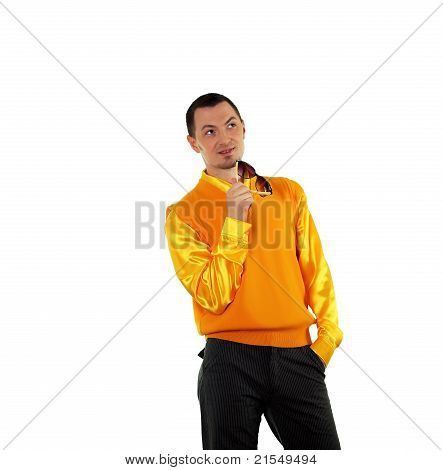 young happy man in bright colour wear