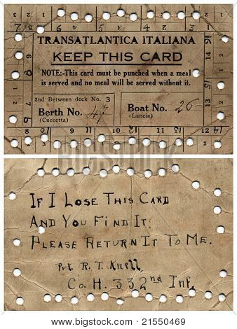NEWBURG, NEW YORK â?? CIRCA 1918: Soldierâ??s meal ticket (front & back) while on Margha, Transatlantica Italiana Steam Ship, traveling from Newburg, New York to London, England during WWI, circa 1918.