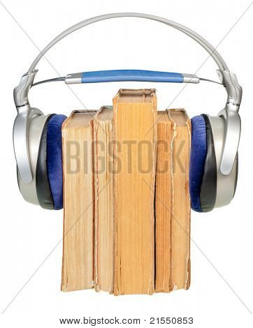 HI-Fi headphones on old books row isolated on white background