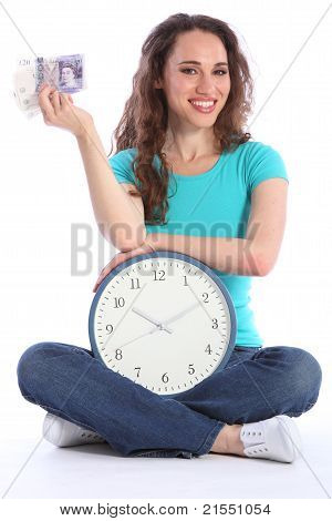 Time Is Money Beautiful Smiling Woman With Clock
