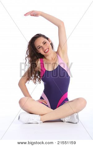 Fit Happy Woman Stretch Exercise During Workout