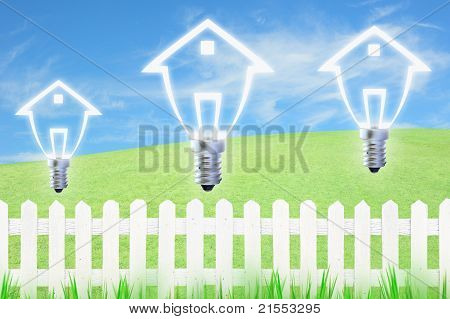 light bulb model of a house and white fence on sky