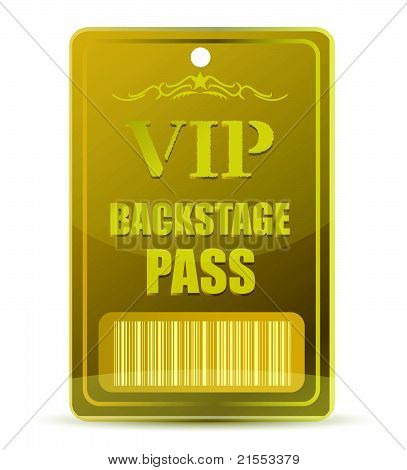Gold VIP backstage pass with bar code, isolated on white background.