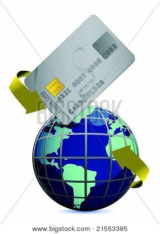 world wide credit concept illustration design over white