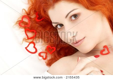 Romantic Redhead With Read Hearts