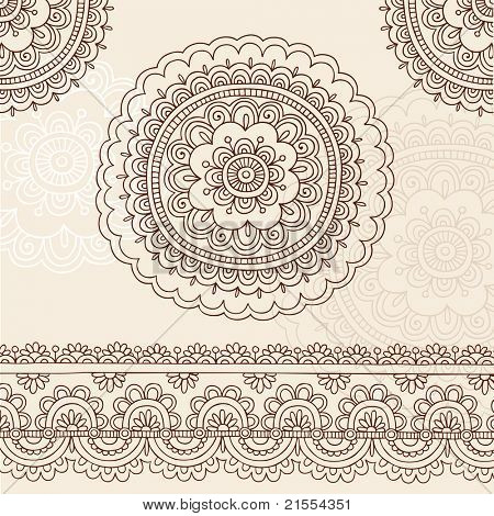 Hand-Drawn Henna Mehndi Tattoo Flower Mandala and Paisley Border Doodle Vector Illustration Design Elements