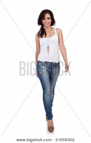 Fashion Girl Walking In Studio