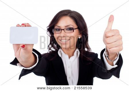 Businesswoman Holding Blank Business Card Giving Thumbs Up