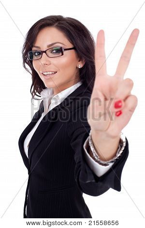 Beautiful Business Woman Showing Victory Sign