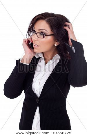 Business Woman Thinking On The Phone