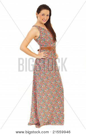 Model Woman In Long Summer Dress
