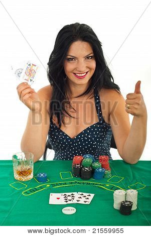 Successful Casino Woman Gives Thumbs