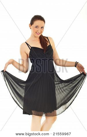 Beauty Woman In Elegant Black Dress