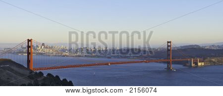 Golden Gate Bridge Lit By The Setting Sun