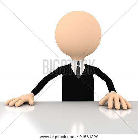 3d businessman sitting.