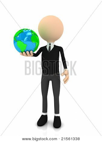 3d businessman with globe over white