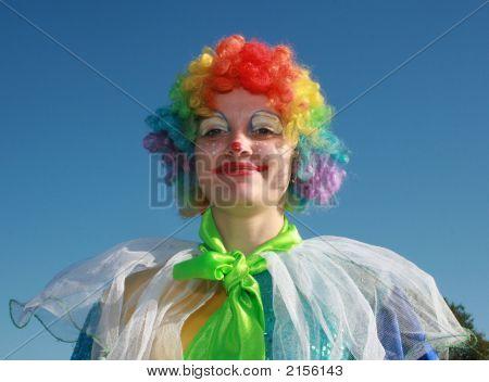 Bizzare Female Clown In Colored Wig 3