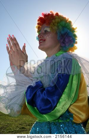 Bizzare Female Clown In Colored Wig 2