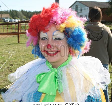 Bizzare Female Clown In Colored Wig 1