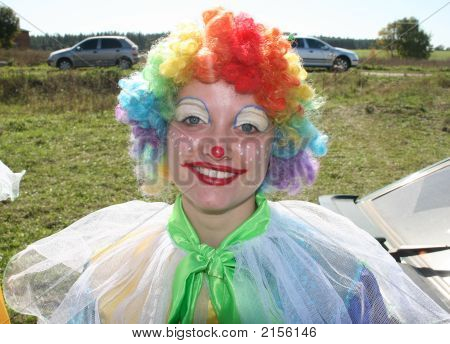 Bizzare Clown In Colored Wig