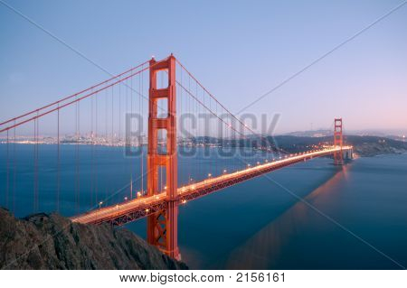Golden Gate Bridge Glowing In The Evening 1
