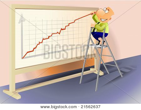 Businessman drawing a rising graph.