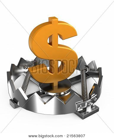 currency in the trap isolated on white background