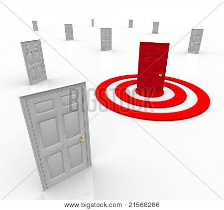 One door is red in the middle of a target bullseye, representing a customer that has been selected for advertising or marketing