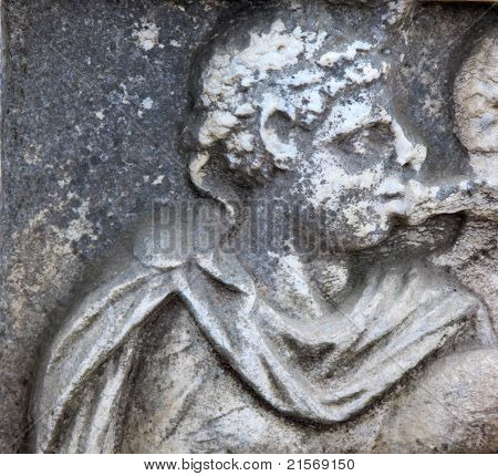Roman Stone Monument Emperor Ostia Antica Italy