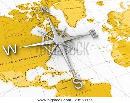 Compass, map, travel, expedition, geography