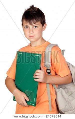 Student Child With Orange T-shirt