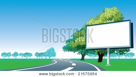 Road Billboard And Roadside Trees