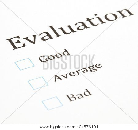 evaluation test paper document, extreme closeup photo