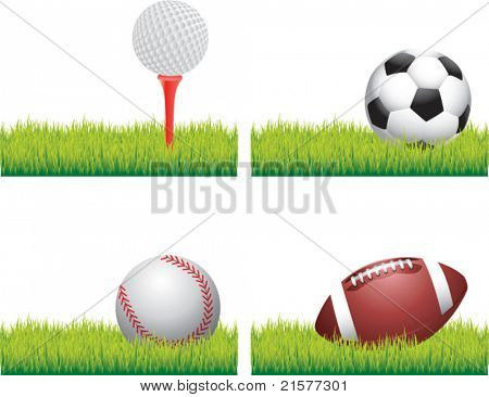 Golf ball on tee, soccer ball, baseball, and football lying on grass