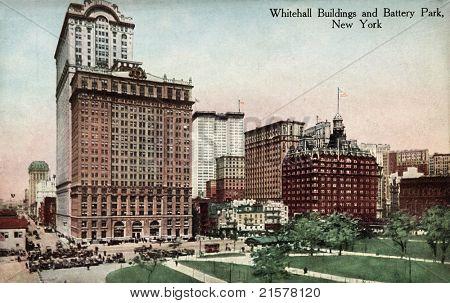 NEW YORK CITY â?? CIRCA 1912: Vintage postcard depicting the Whitehall Buildings & Battery Park, New York City, USA, circa 1912.