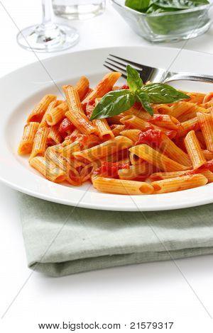 penne all'arrabbiata , italian pasta dish