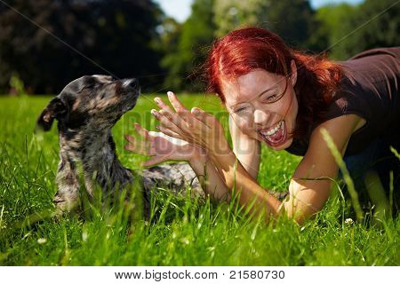 Dog Pulling Hair Of A Woman