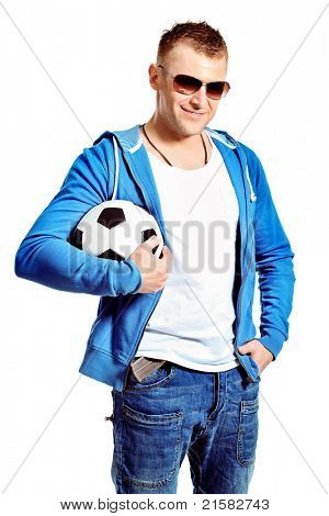 Portrait of a handsome sporty middle-aged man with a ball. Isolated over white.