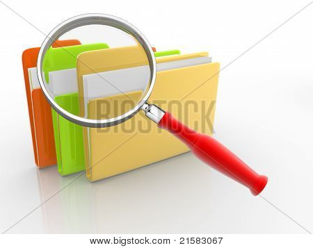Folders And Magnifying Glass