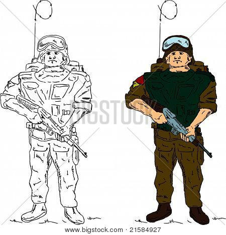 vector - a soldier holding gun , hand draw, isolated on background