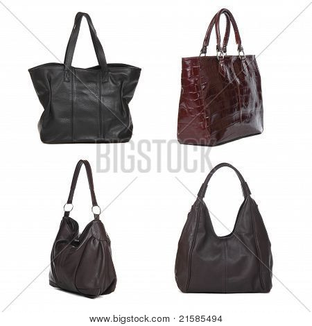 Set Of Black And Brown Leather Female Bags