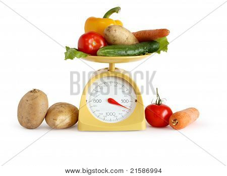 Vegetables On Weight Scale
