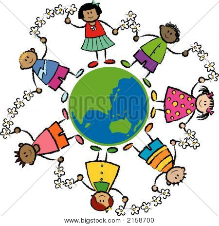 Friends Around The World Asia And Oceania (Vector) - Cartoon Illustration Of Multi Racial Kids Linke