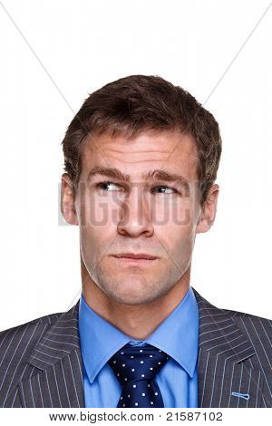 Photo of a businessman with a puzzled expression on his face, headshot isolated on a white background. Part of a series.