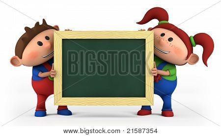 Boy And Girl With Blackboard