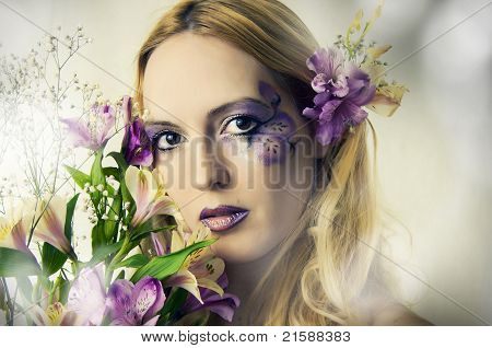 Young Woman With Summer Flowers