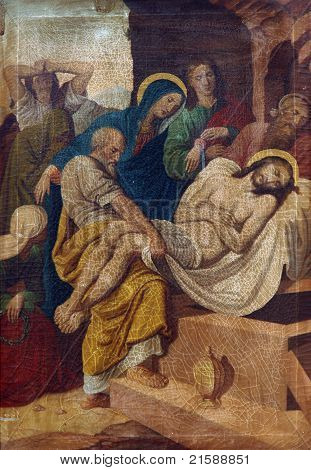 Jesus is laid in the tomb and covered in incense