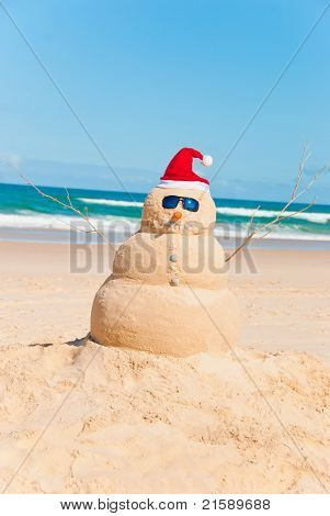 Heat Resistent Snowman Sunbathing On Beach
