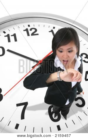 Business Woman On Clock